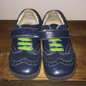 See Kai Run wingtip navy n green shoes